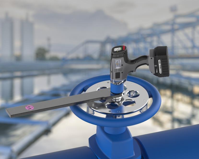 Afsluiter met HYTORC LION Gun elektrische momentsleutel