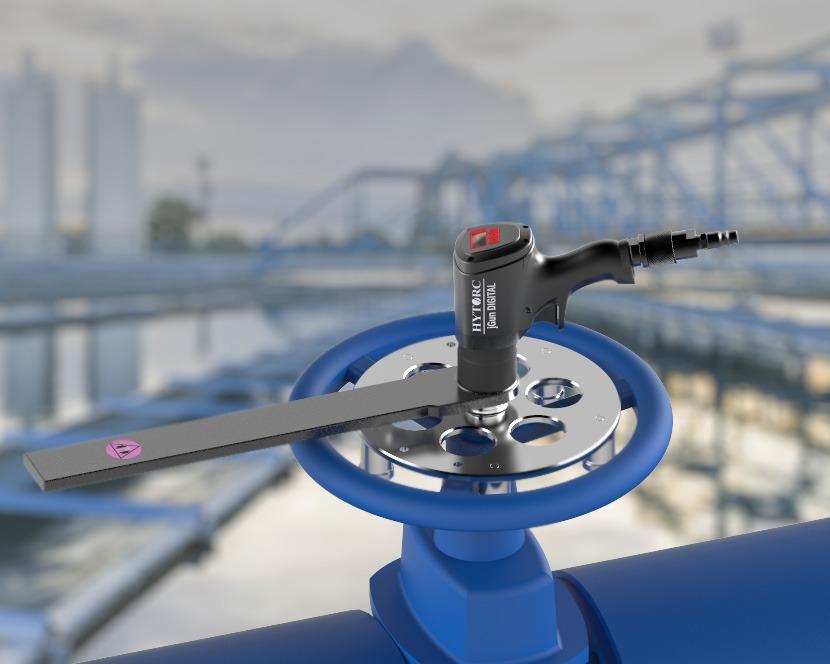 Afsluiter met HYTORC jGun DIGITALL pneumatische luchtaangedreven momentsleutel